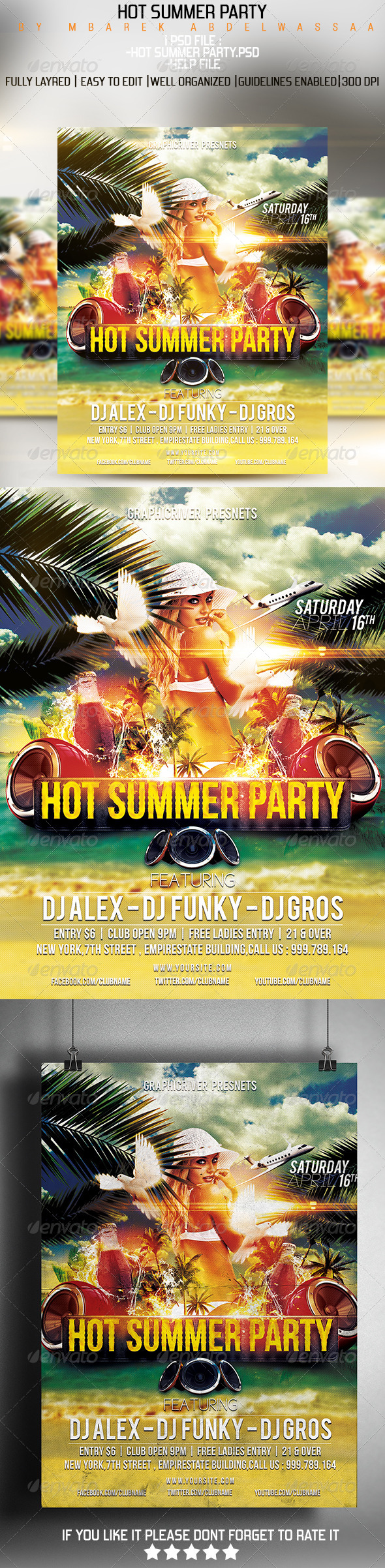 Hot Summer Party flyer - Flyers Print Templates
