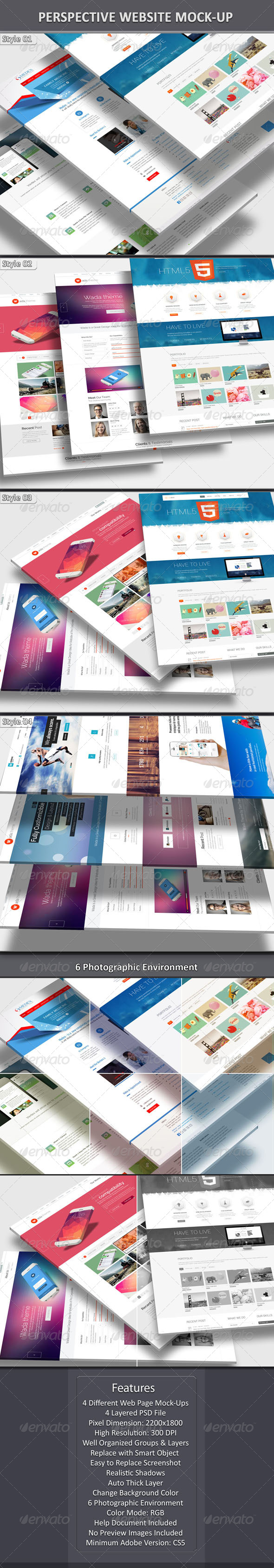 Perspective Web Mock-Up - Website Displays