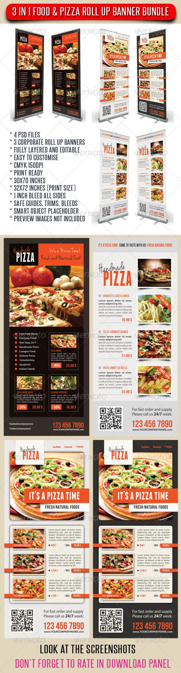 3 in 1 Food And Pizza Menu Banner Bundle 03