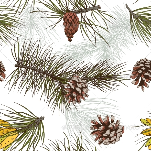 Pine Branches Pattern - Backgrounds Decorative