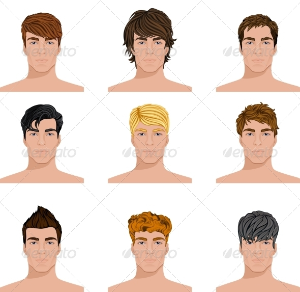 hair style animation different hairstyle faces icons set by macrovector 4436