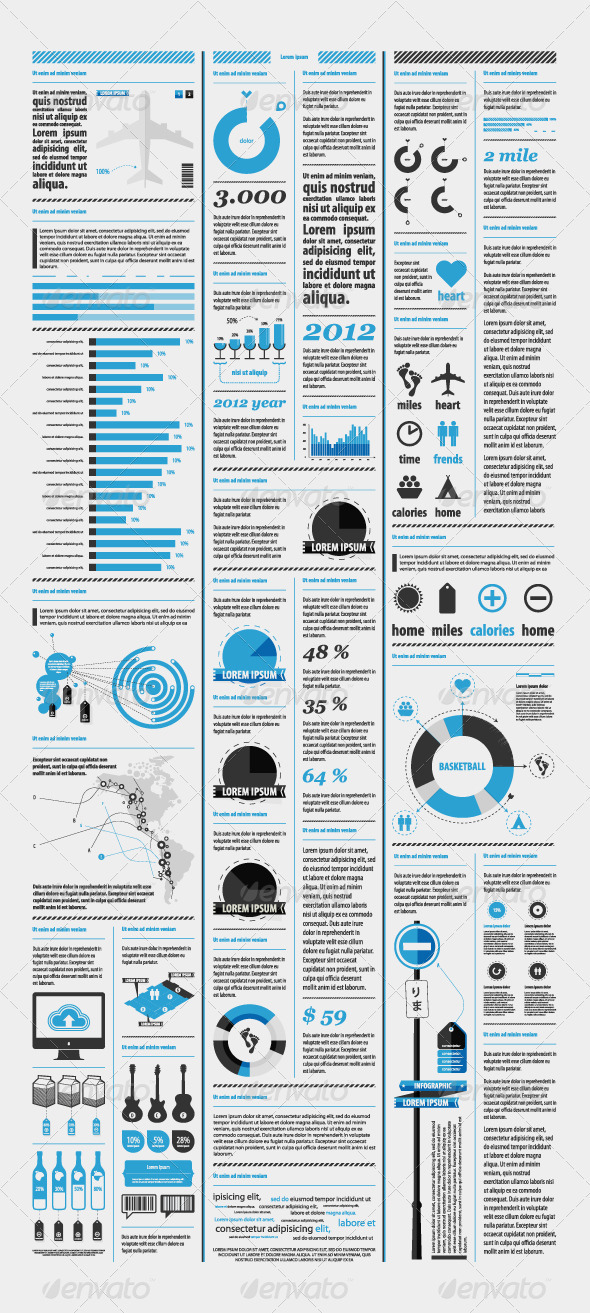 Elements of infographics with a map of America - Infographics