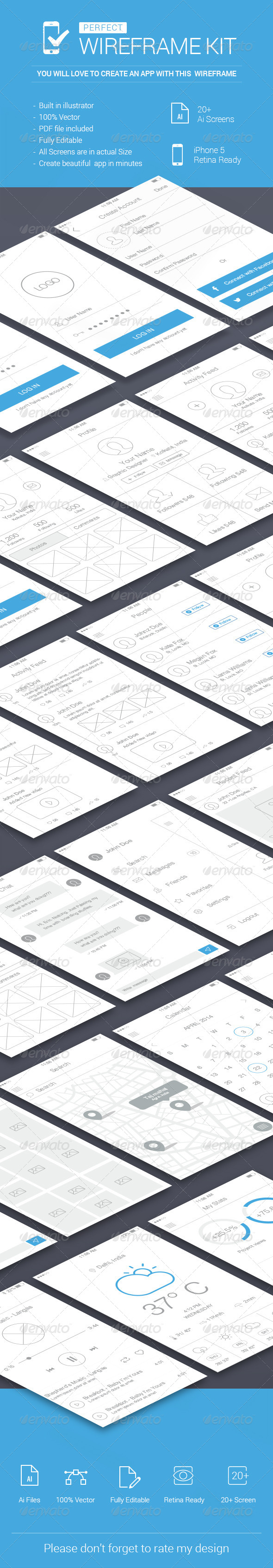 iOS Wireframe Kit - User Interfaces Web Elements