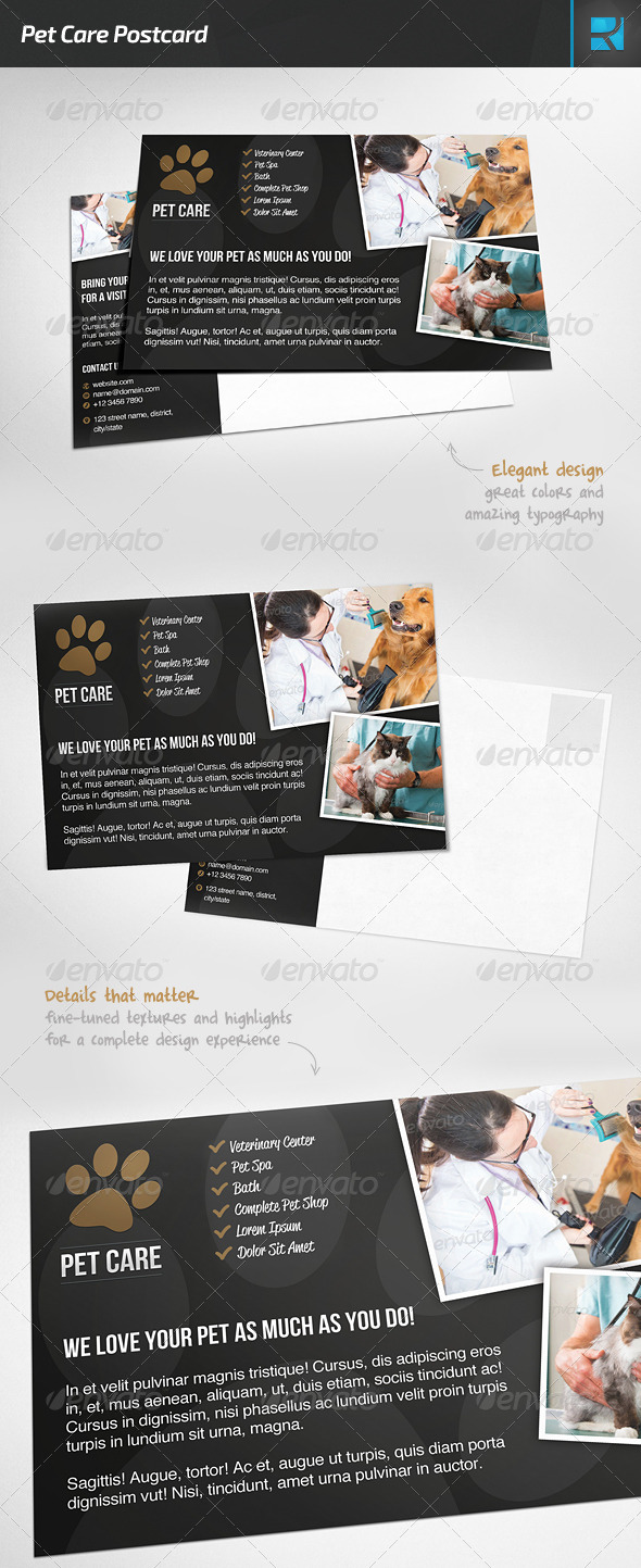 Pet Care Postcard - Stationery Print Templates