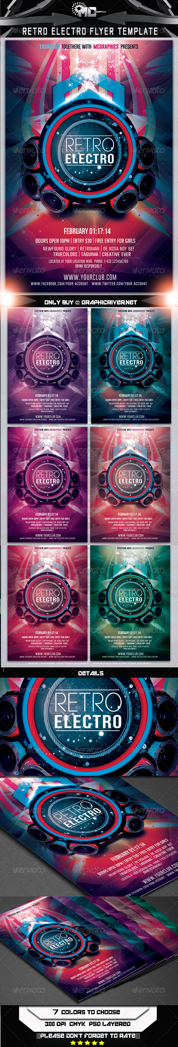 Retro Electro Flyer Template - Events Flyers