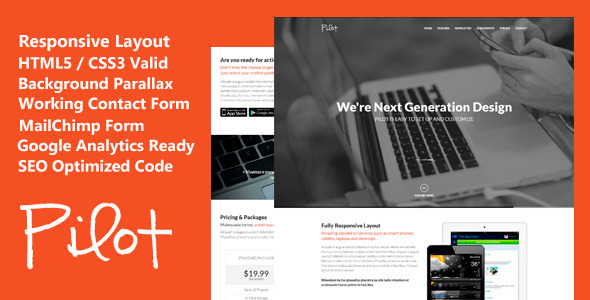 Pilot - Elegant Responsive Landing Page Template - Landing Pages Marketing