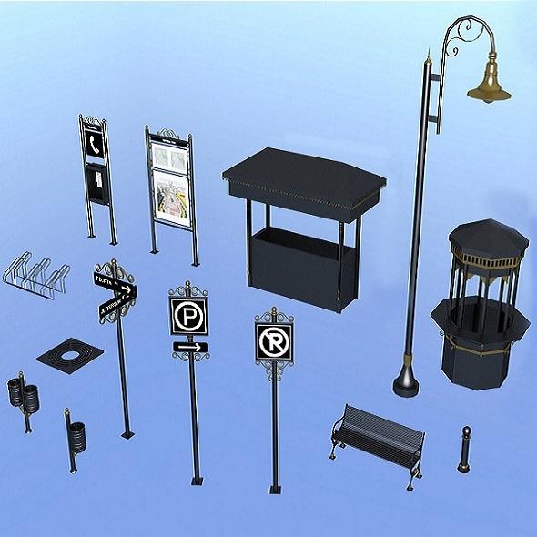 Urban accessories - 3DOcean Item for Sale