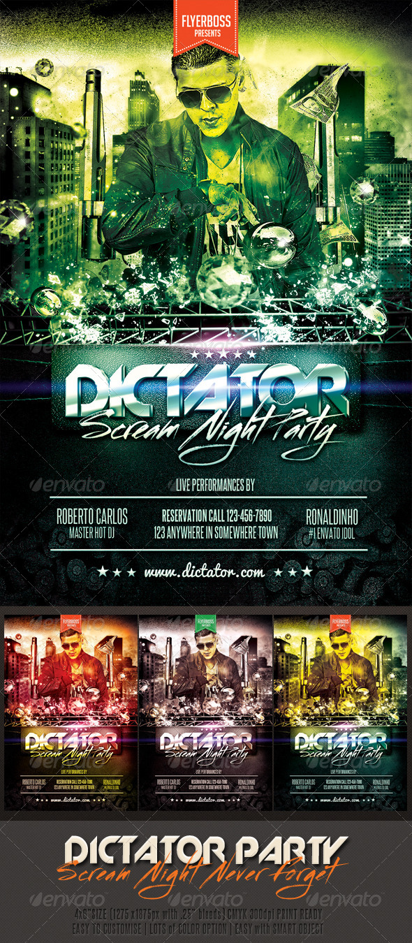 Dictator Party Flyer - Events Flyers