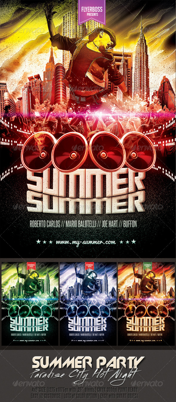 Hot Summer Party Flyer - Events Flyers
