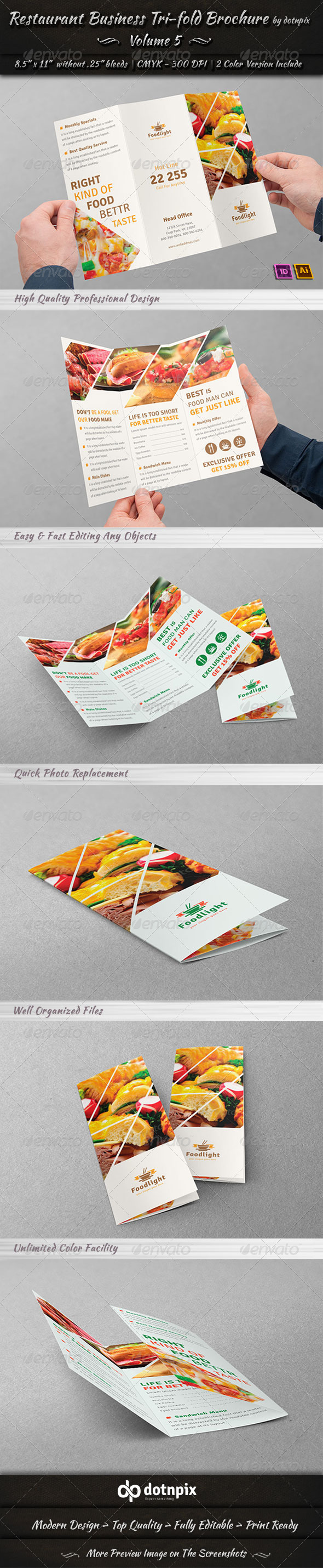 Restaurant Business TriFold Brochure Volume By Dotnpix - Tri fold brochure template open office