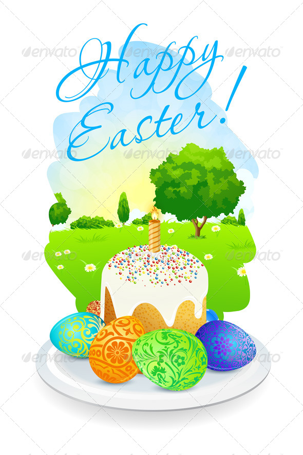 Easter Card with Landscape, Cake and Eggs - Seasons/Holidays Conceptual