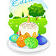 Easter Card with Landscape, Cake and Eggs - GraphicRiver Item for Sale
