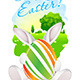Easter Card with Landscape, Rabbit and Egg - GraphicRiver Item for Sale