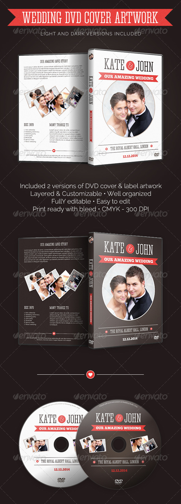 Wedding DVD Cover With Disc Label