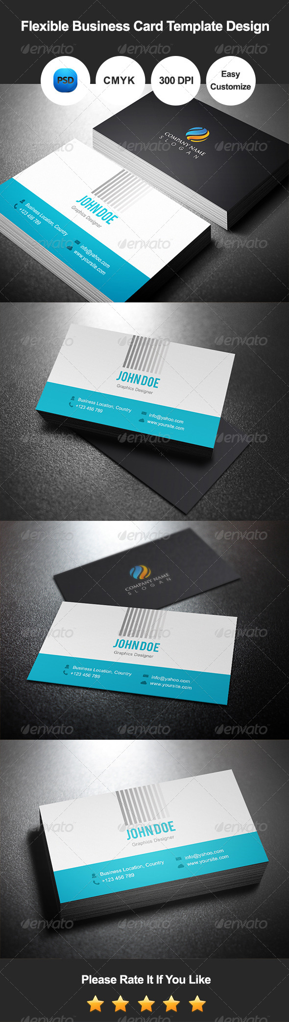 Flexible Business Card Template Design - Corporate Business Cards