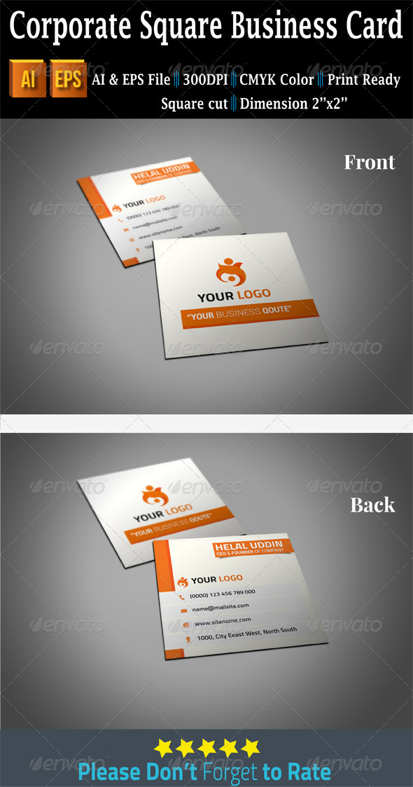 Corporate Square Business Card - Corporate Business Cards