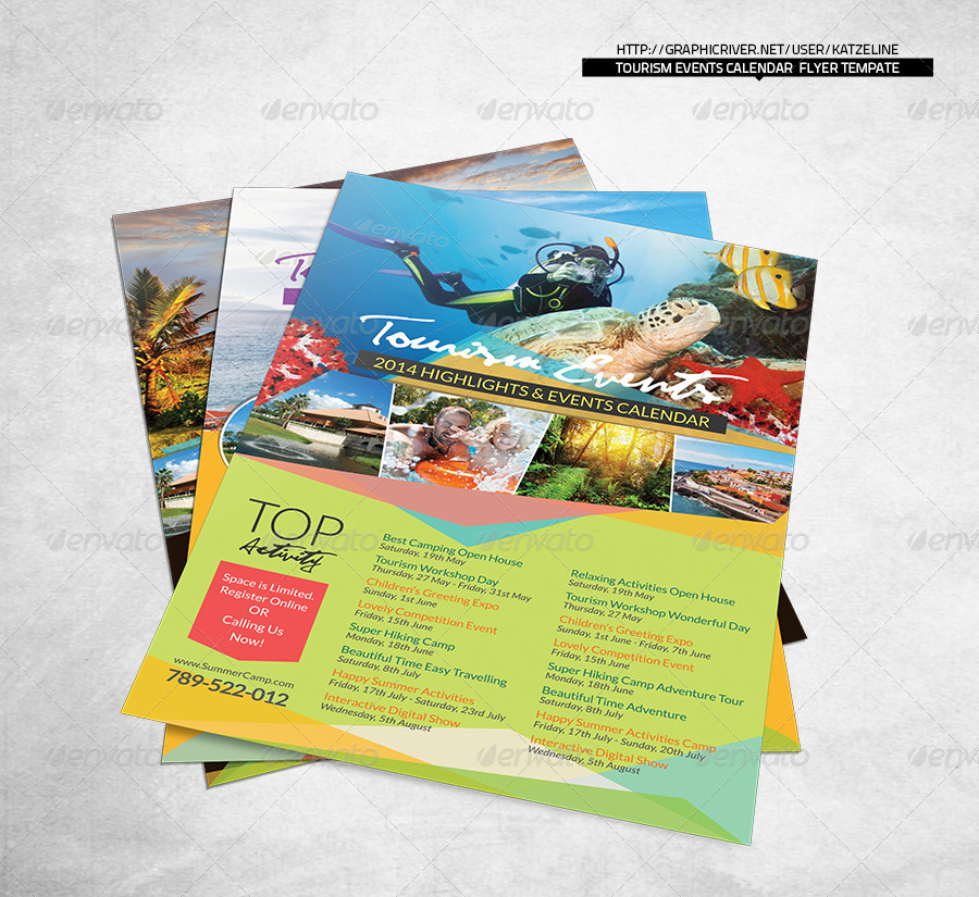 Tourism Events Calendar Flyer Template By Katzeline | Graphicriver
