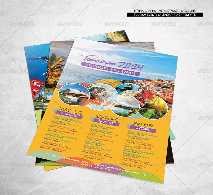 Tourism Events Calendar Flyer Template By Katzeline  Graphicriver