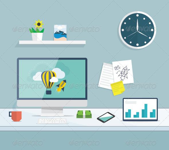 Flat Desktop Office Vector Concept - Concepts Business