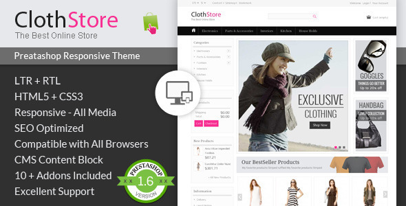 ClothStore - Prestashop Responsive Theme