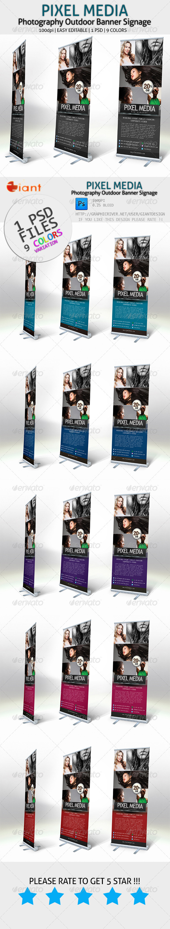 Pixel Media - Photography Outdoor Banner Signage - Signage Print Templates