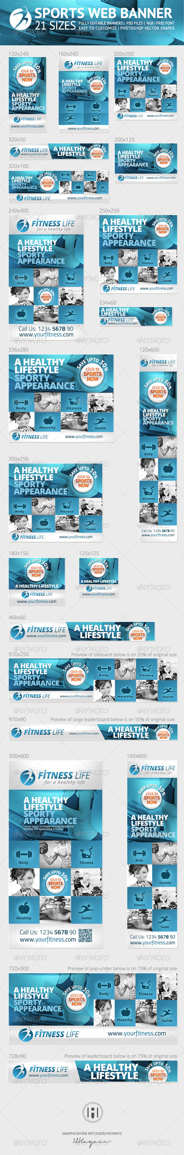 Sports and Fitness Web Banners Ads - Banners & Ads Web Elements