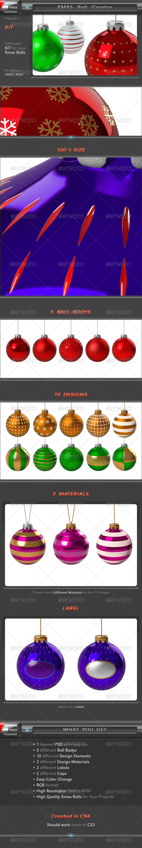 Xmas Ball Creator - Objects 3D Renders