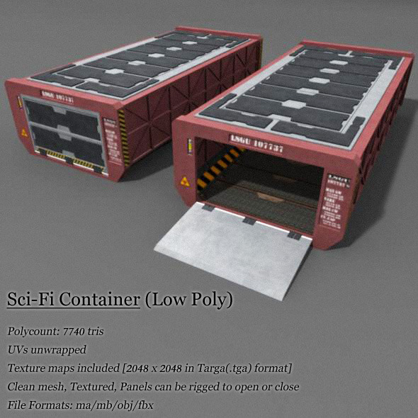 Low Poly Container - 3DOcean Item for Sale