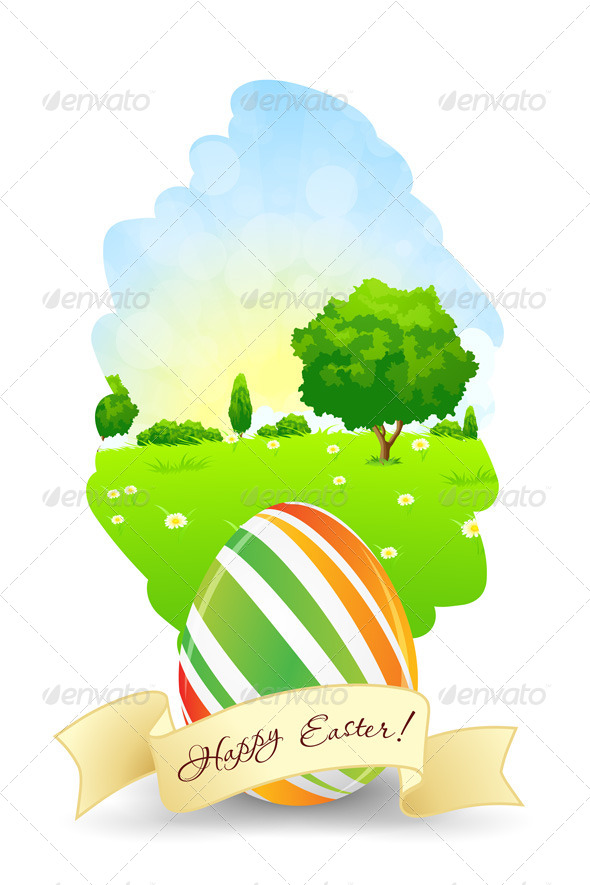 Easter Card with Landscape and Decorated Egg - Seasons/Holidays Conceptual