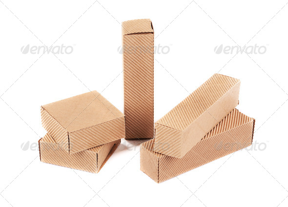 Small corrugated boxes. - Stock Photo - Images