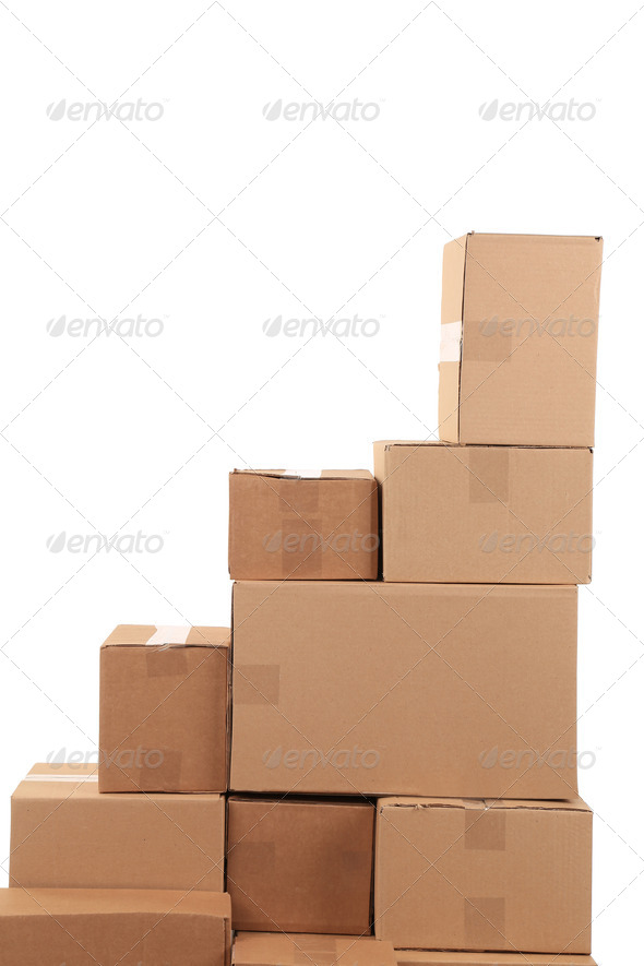 Stack of cardboard boxes. - Stock Photo - Images