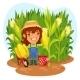 Harvesting Female Farmer in a Cornfield - GraphicRiver Item for Sale