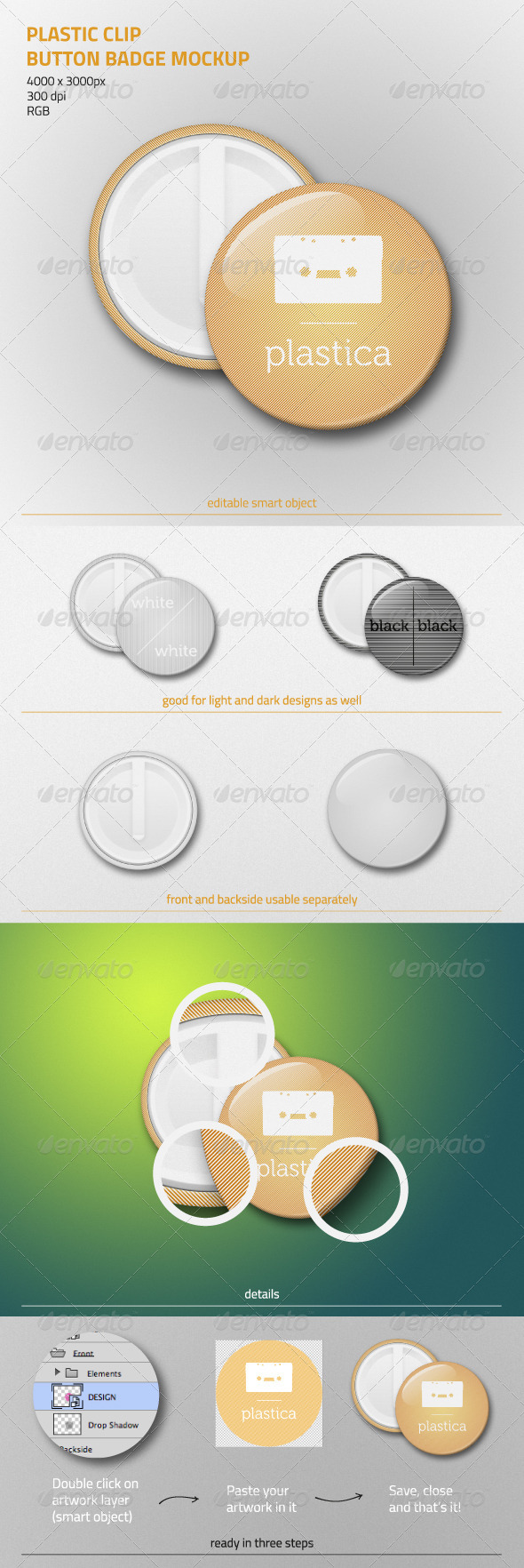 Plastic Clip Button Badge Mockup - Miscellaneous Product Mock-Ups