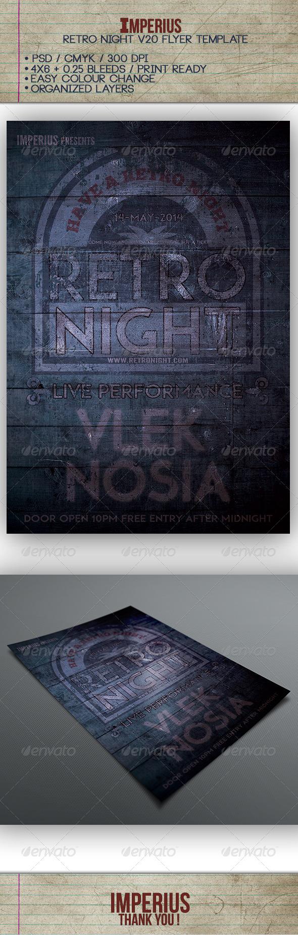 Retro Night V20 - Flyers Print Templates