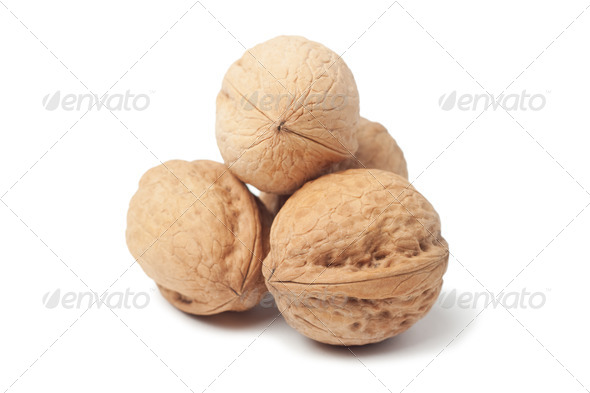 Circassian Walnut Isolated Over White Background - Stock Photo - Images