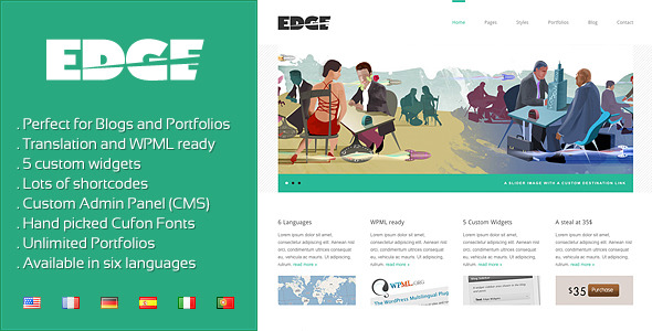 Free Download Edge - Professional Corporate and Portfolio WP Nulled Latest Version
