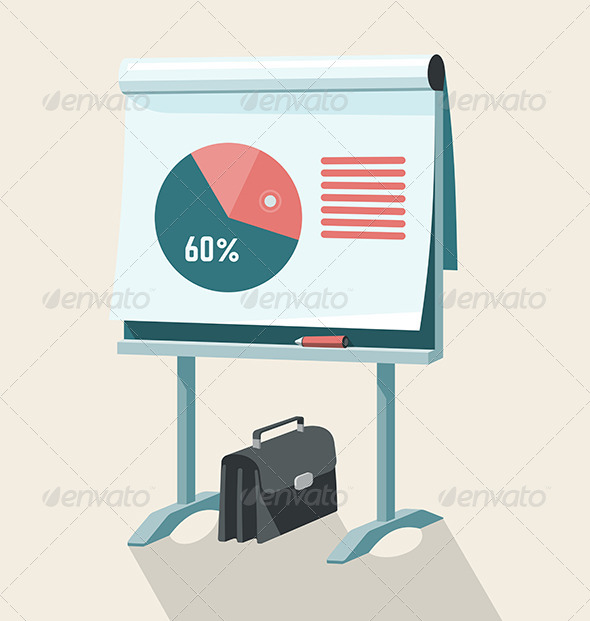 Flip Chart With Pie Graph - Business Conceptual