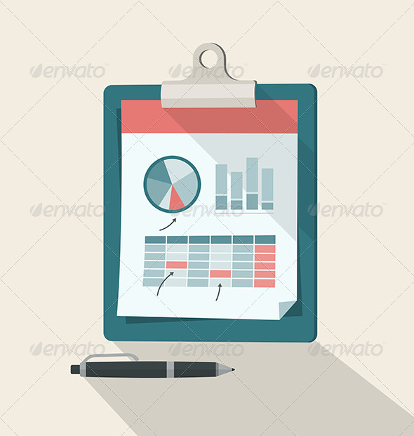 Clipboard With Financial Infographic - Business Conceptual
