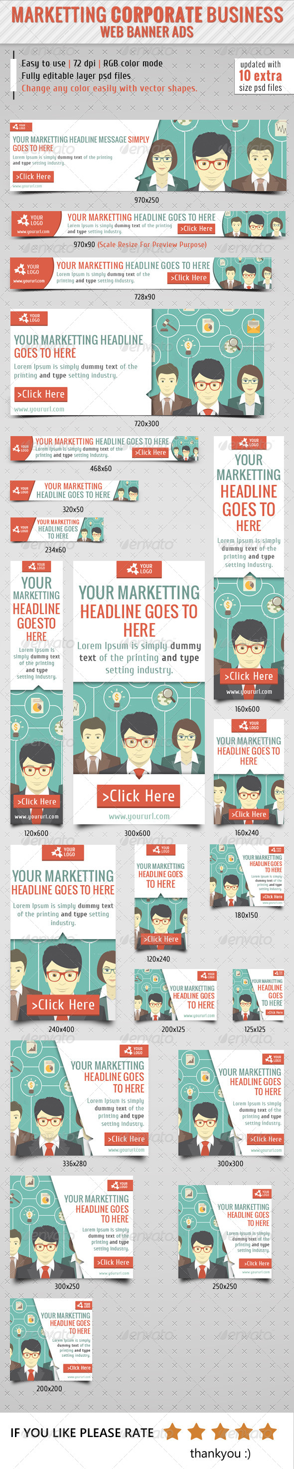 Marketting Corporate Business Web Banner - Banners & Ads Web Elements