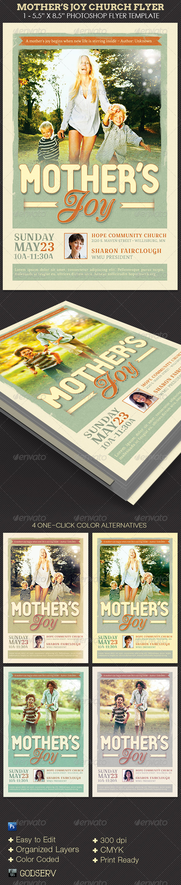 Mothers Joy Church Flyer Template - Church Flyers