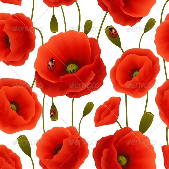 Poppy seamless pattern by macrovector graphicriver - Bat and poppy wallpaper ...