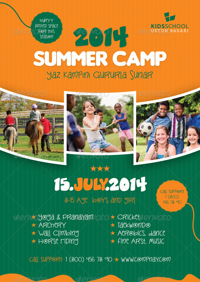 Summer Camp Flyer Templates By Grafilker  Graphicriver