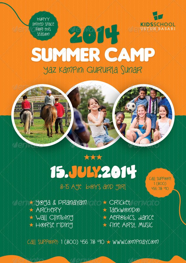 summer camp flyer templates by grafilker graphicriver. Black Bedroom Furniture Sets. Home Design Ideas