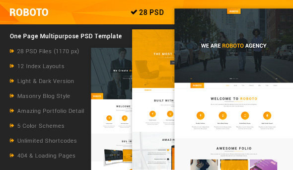 Roboto – One Page Multi-Purpose PSD Template