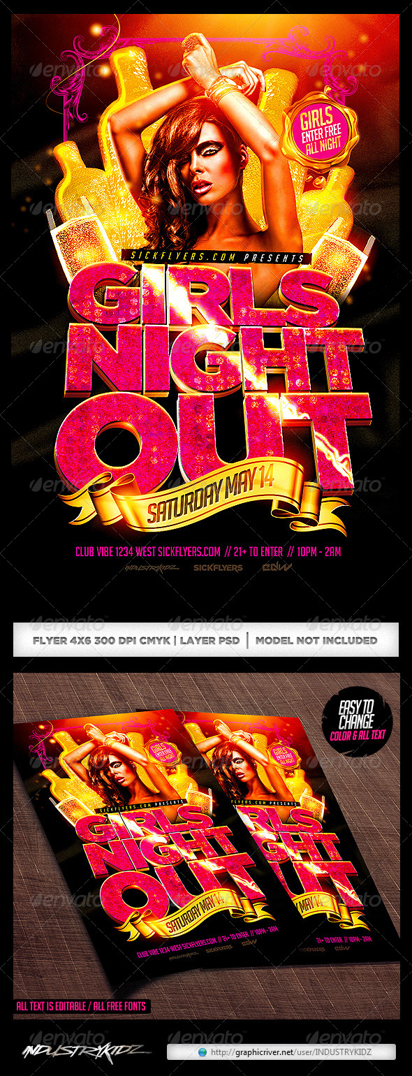 Girls Night Out Flyer Template PSD - Clubs & Parties Events