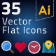 35 Vector Flat Icons - GraphicRiver Item for Sale