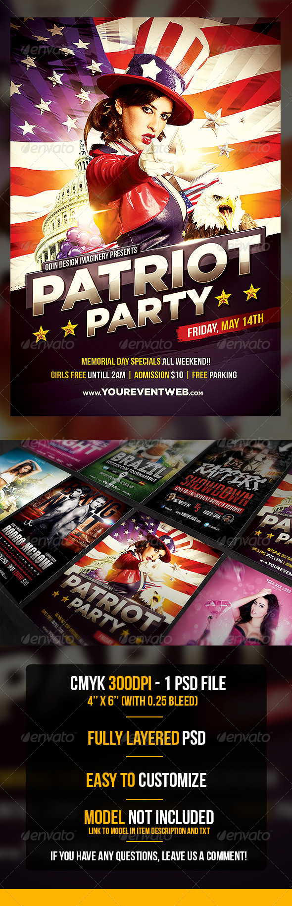 Patriot Party Flyer Template - Flyers Print Templates