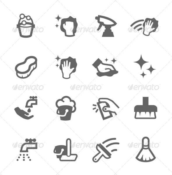 cleaning icons by davooda graphicriver