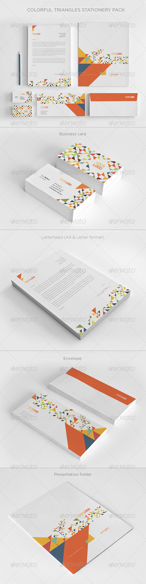 Colorful Triangles Stationery Pack - Stationery Print Templates