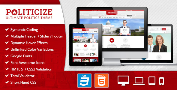 Politicize – Political Responsive HTML5 Template